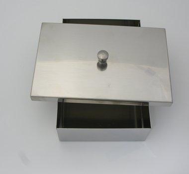 Instrumentenschale mit Knopfdeckel Edelstahl, made in Germany, Maße: 120 x 80 x 40 mm, Artikelnummer: 000731