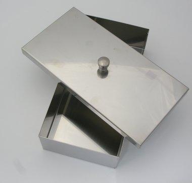 Instrumentenschale Edelstahl mit Knopfdeckel, made in Germany, Maße: L 200 x B 100 x H 50 mm, Artikelnummer: 000733