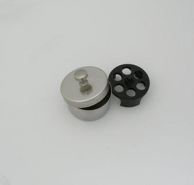 Desinfizierdose / Aufbewahrungsdose für 6 Tonometer-Messkörper, V2A-Edelstahl, ø 50 mm, mit Deckel, made in Germany, Artikelnummer: 000741