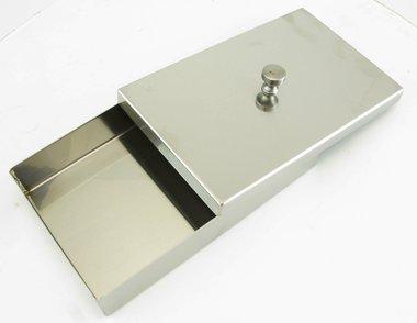 Instrumentenschale Edelstahl mit Knopfdeckel, made in Germany, Maße: L 160 x B 100 x H 30 mm, Artikelnummer: 013229