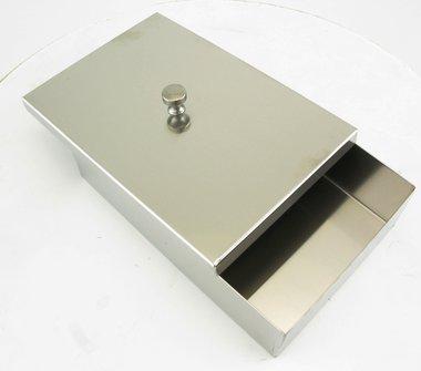 Instrumentenschale Edelstahl mit Knopfdeckel, made in Germany, Maße: L 180 x B 120 x H 50 mm, Artikelnummer: 000734